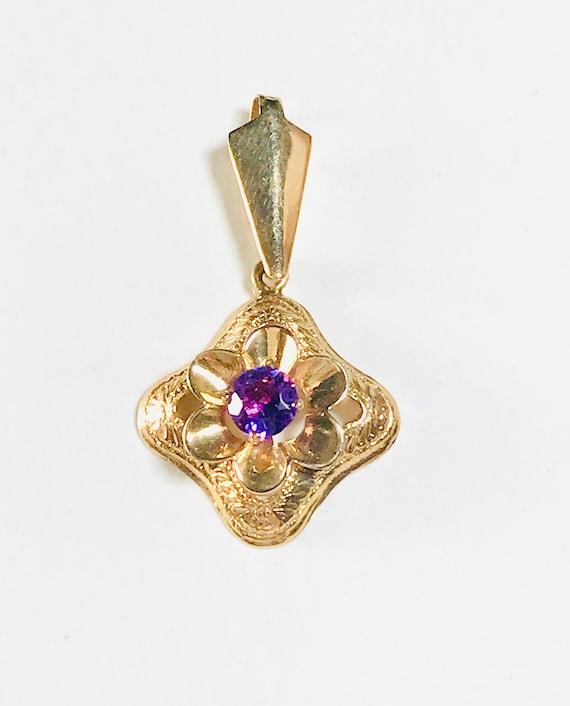 Yellow Gold Amethyst Pendant, Vintage Amethyst Pe… - image 2