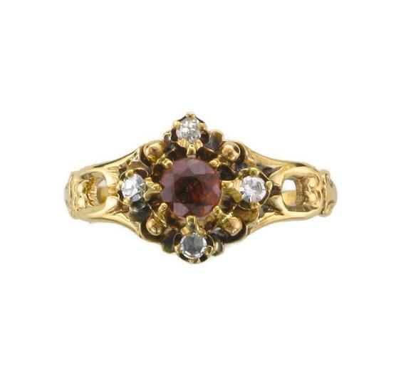 Victorian Garnet and Diamond Ring; Garnet Ring; Ga