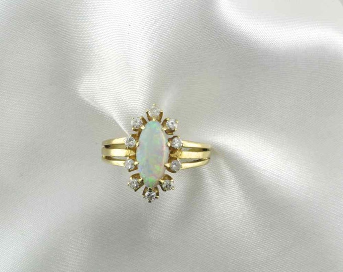 Marquise Cut Opal Ring with Diamond Accents in Yellow Gold, Opal and Diamond Cocktail Ring, Cocktail Ring
