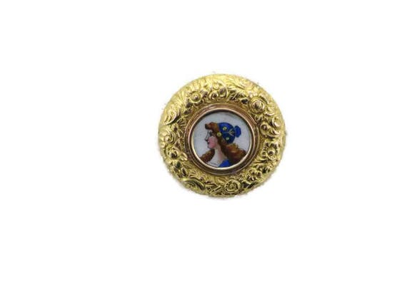 Victorian Yellow Gold Enamel Repusse Pin, Antique