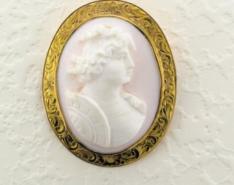 Shell Cameo Pin/Pendant with Hand Engraved Frame; Hand Engraving; Cameo Pin; Cameo Pendant; Cameo