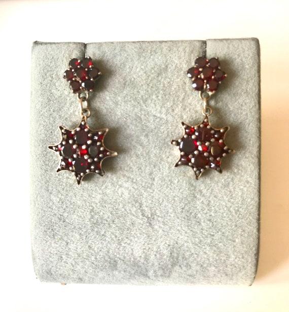 Antique Garnet Drop Earrings, Garnet Dangle Earrin