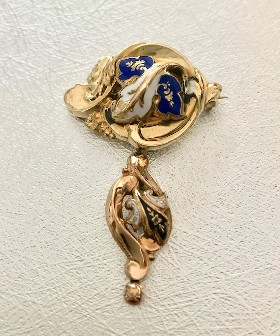 Victorian Rolled Gold Plate Pin, Victorian Enamel