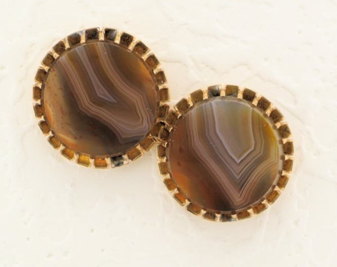 Agate Pierced Earrings (Converted from cuff-links); Banded Agate Earrings; Antique Agate Earrings; Repurposed Cufflinks; Recycled Cufflinks