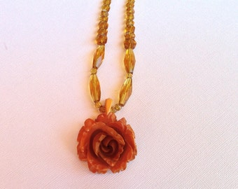 Recycled Plastic and Glass Bead Necklace and Pendant; Flower Necklace; Flower Pendant; Recycled Jewelry; Up-cycled Jewelry