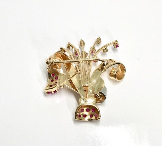 Retro Ruby and Diamond Brooch, Vintage Diamond an… - image 4