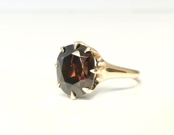 Yellow Gold Garnet Ring, Garnet Solitaire Ring, Vi