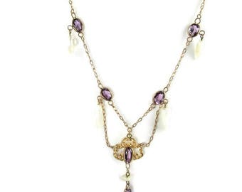 Yellow Gold Amethyst and Pearl Necklace, Art Nouveau Necklace, Antique Amethyst Necklace, Amethyst and Pearl Necklace, Art Nouveau Jewelry