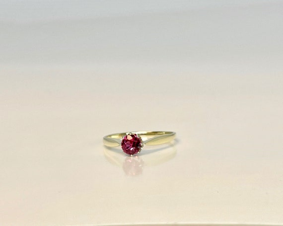 Vintage Yellow Gold Pink Tourmaline Solitaire Rin… - image 3