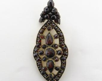 Garnet Drop Pendant; Bohemian Garnet Pendant; Antique Bohemian Garnet Pendant; Bohemian Garnet; January Birthstone; Garnet Pendant