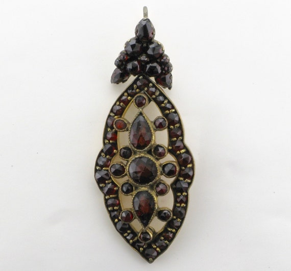 Garnet Drop Pendant; Bohemian Garnet Pendant; Anti