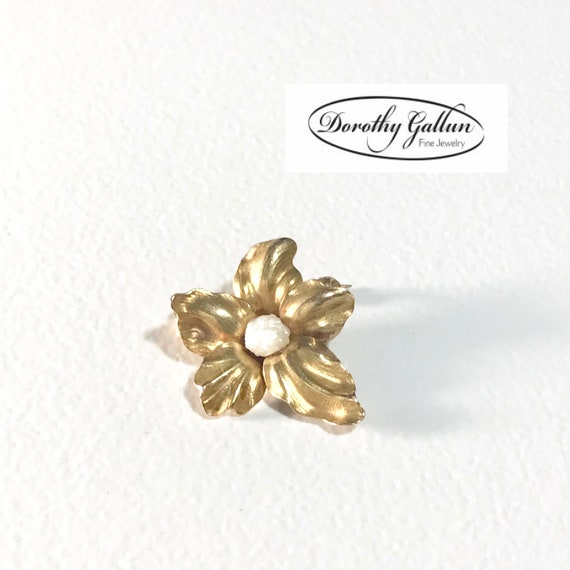 Yellow Gold Pearl Flower Brooch, Vintage Pearl Pi… - image 2