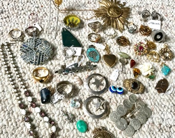 Bag of Bits and Pieces, Broken Earrings, Pins, Rings, Sterling Jewelry, Costume Jewelry, Bag of Stuff, Jewelry to Up-Cycle