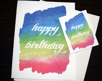 Large Oversized Birthday Card Beautiful Hand Painted Happy Lovely Handmade Watercolor Huge Silly Gigantic 9x12