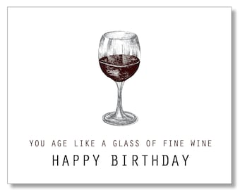 OVER THE HILL Birthday Card Wine Lover Funny Sweet Kind Hand Drawn Handmade