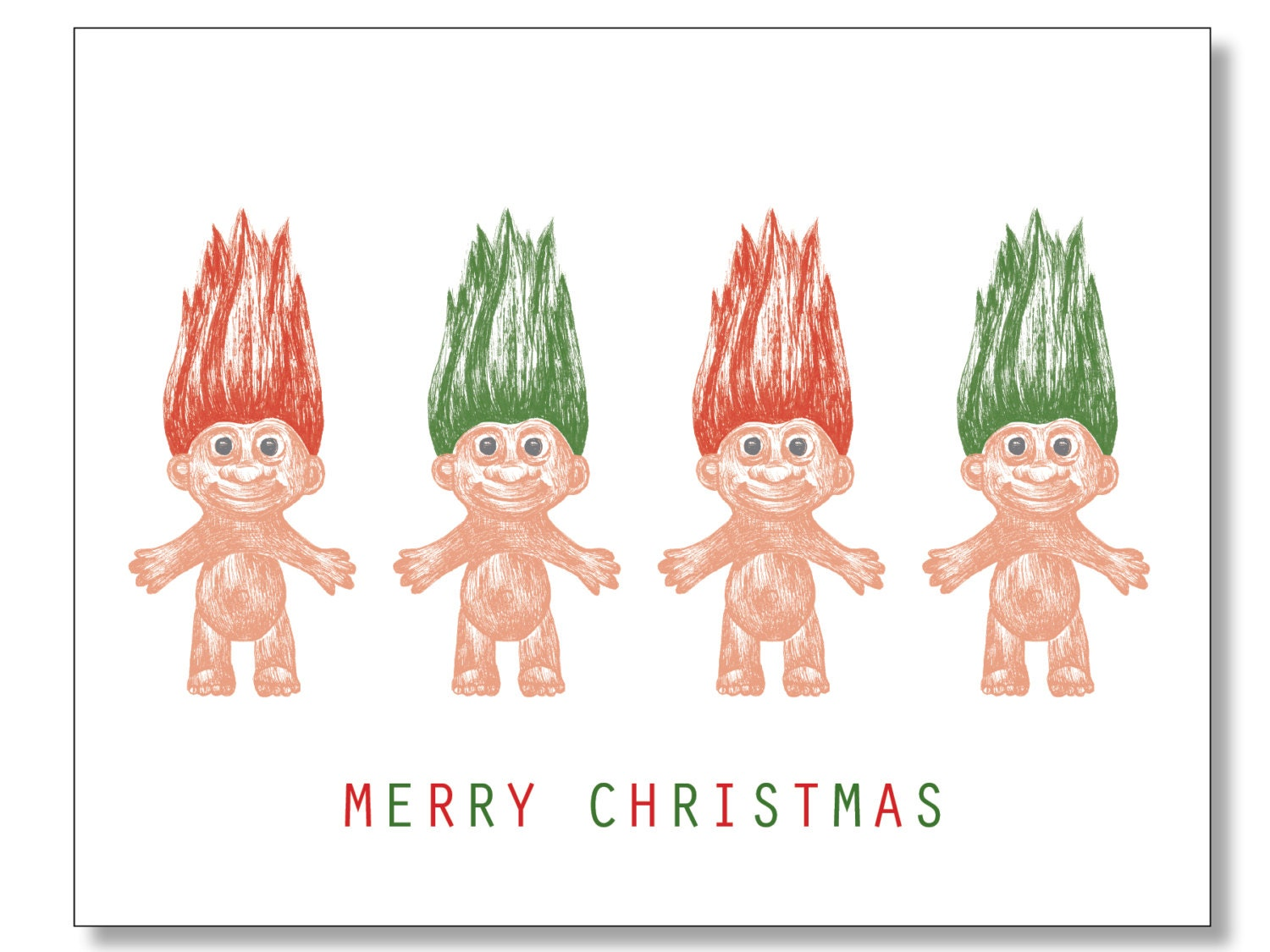 Merry CHRISTMAS Cards. TROLL DOLLS. Box Set of 8. Doll Lover | Etsy