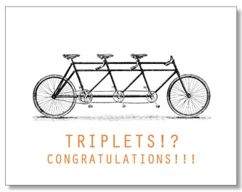 Triplets Card. Pregnant with Triplets. Congratulations - Triplets On the Way. Boy Twins - Girls Twins Card