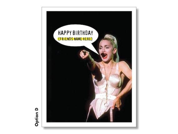 Madonna Happy Birthday Card Awesome Sexy Funny Madonna Etsy