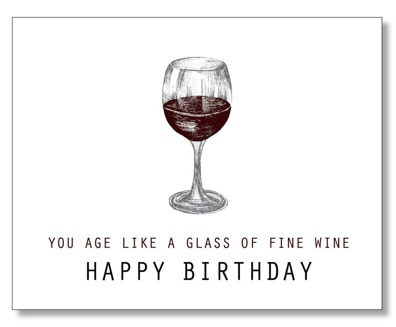 OVER THE HILL Birthday Card Wine Lover Funny Sweet Kind