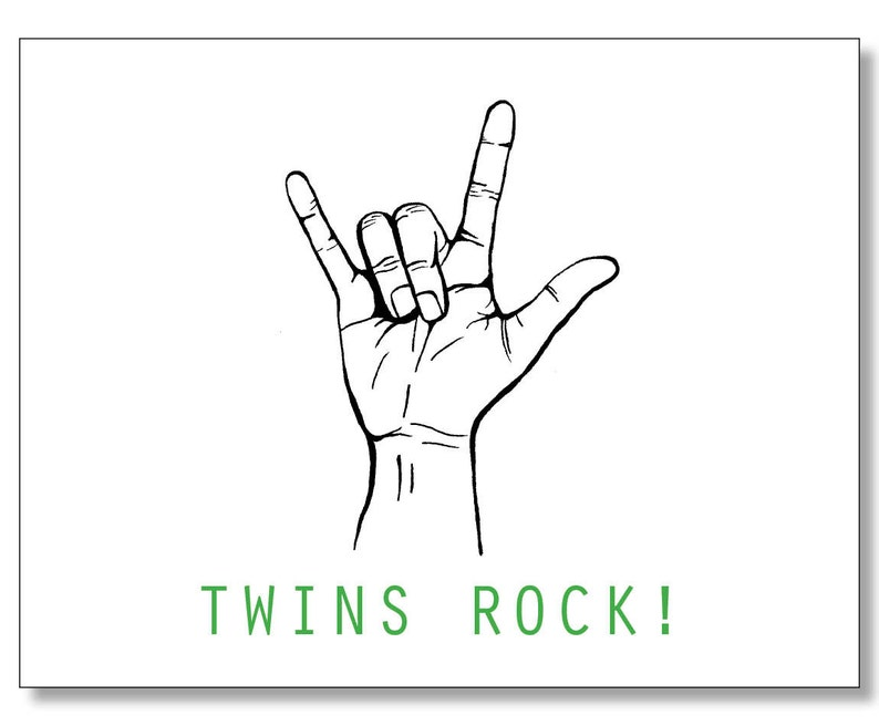 TWINS ROCK Pregnancy BABY Card  Funny Card for a Pregnant Friend   Congratulations - Twins On the Way  Twins Baby Shower