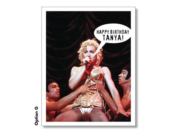 Madonna Happy Birthday Card Personalized Madonna Card Super Etsy
