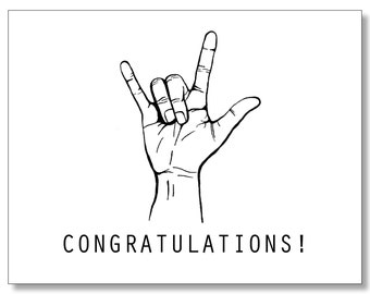 CONGRATULATIONS card. Awesome Congratulations for any occasion. Devil Horns - Rock On - Congrats - Hip Congrats Card  - Hip Card