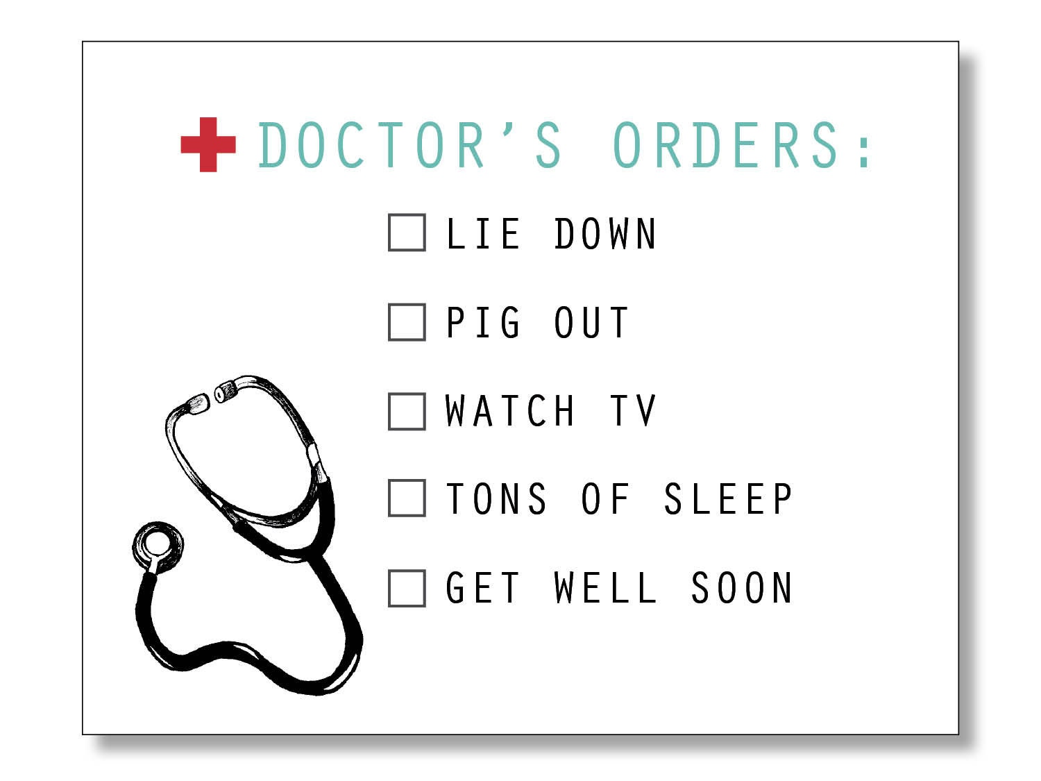 Doctors Orders Funny Get Well Card Get Well Soon Etsy