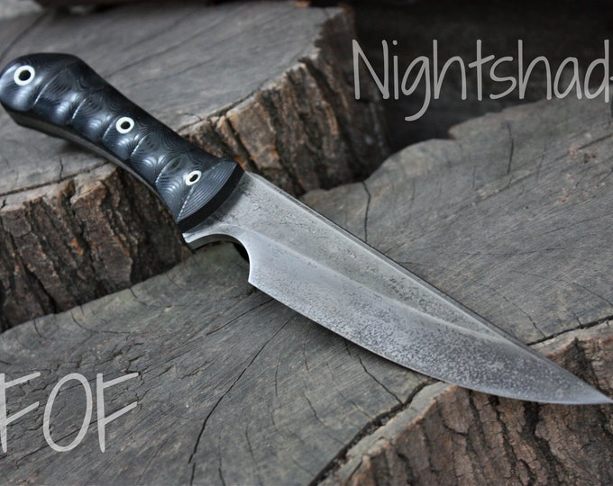 """Handcrafted Fallen Oak Forge FOF """"Nightshade"""", full tang hunting and survival knife"""