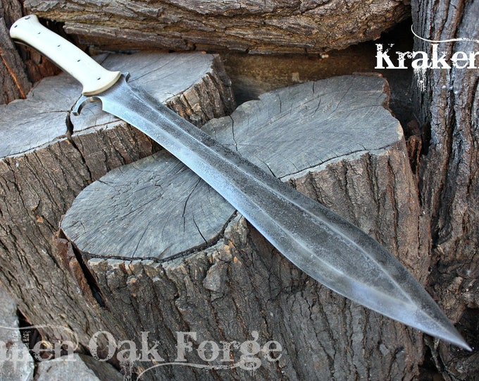 "Handcrafted Fallen Oak Forge ""Kraken"" full tang leaf blade sword"