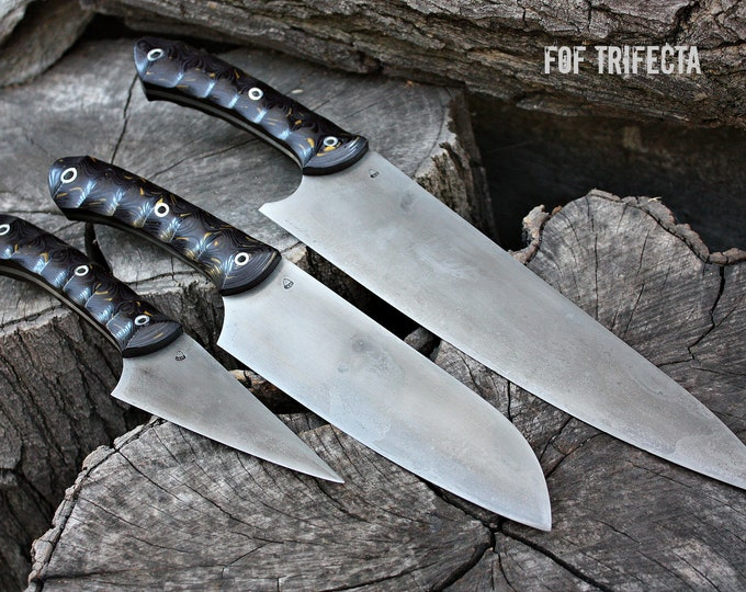 "Handcrafted Fallen Oak Forge ""FOF Trifecta"" kitchen knife set"