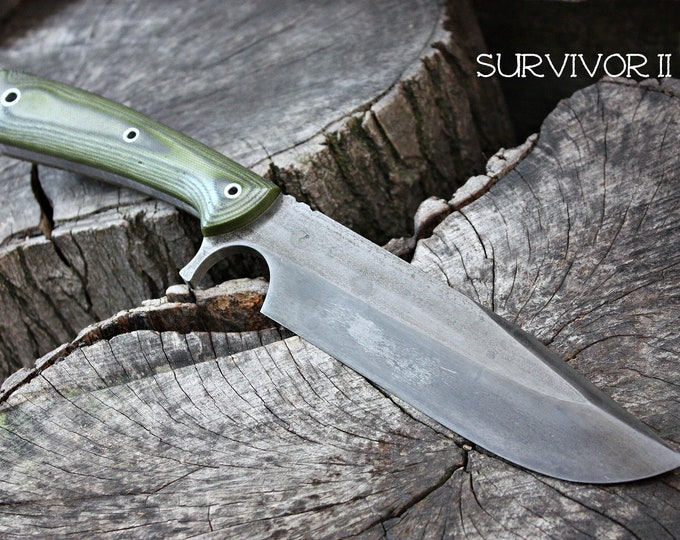 "Handcrafted FOF ""Survivor II"" Custom full tang bushcraft and hunting knife"