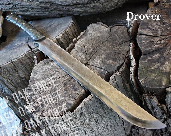 "Handcrafted Fallen Oak Forge ""Drover"" Full tang two handed survival and bushcraft sword"