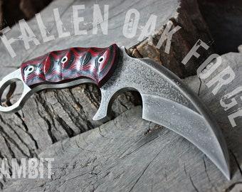 """Handcrafted Fallen Oak Forge FOF """"Gambit"""", survival karambit blade"""