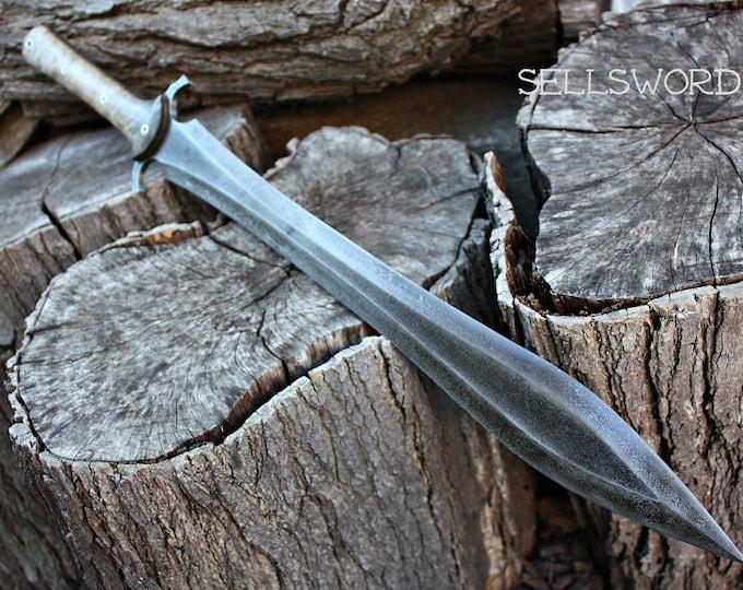 "Handcrafted FOF ""Sellsword"" full tang leaf blade short sword"