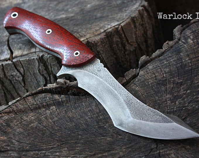 "Handcrafted FOF ""Warlock II"" Custom full tang recurve tactical knife"