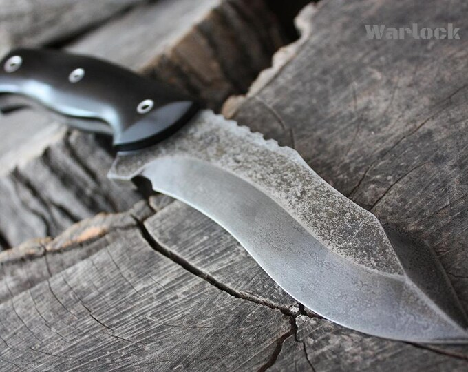 """Handcrafted FOF """"Warlock"""" Custom full tang recurve tactical knife"""