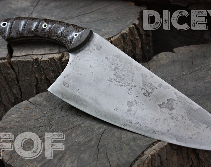 """Handcrafted blade Fallen Oak Forge FOF """"Dicey"""" full tang kitchen blade"""