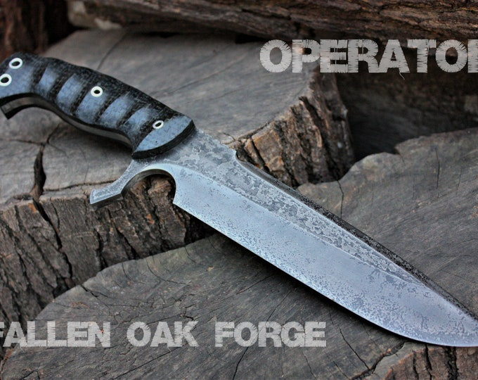 "Handcrafted Fallen Oak Forge ""Operator"" Custom Full Tang Tactical, Survival and Hunting knife"