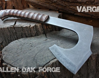 """Handcrafted FOF """"Vargr"""" Norse inspired full tang bearded tactical axe"""