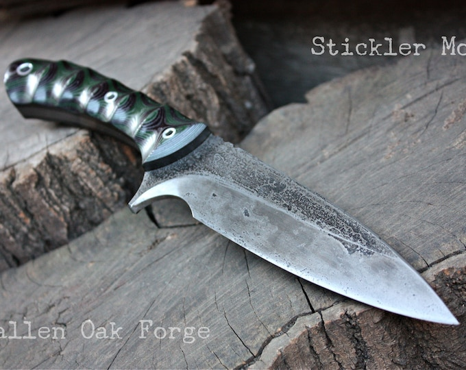 "Handcrafted Fallen Oak Forge ""Stickler mod"", survival knife."