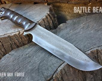 "Handmade FOF "" Battle Bear "" full tang camp and survival knife"
