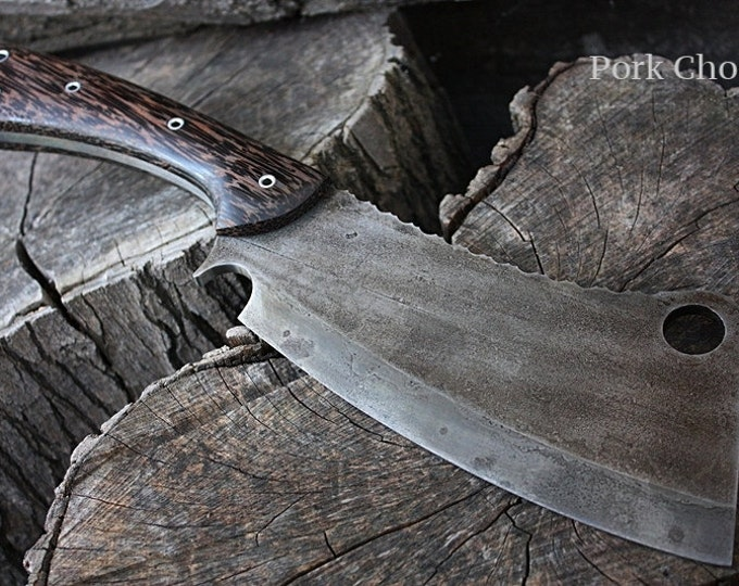 "Handmade FOF ""Pork Chop"" full tang camp and survival cleaver"