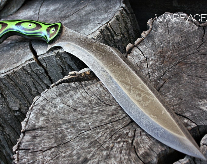 "Handcrafted ""Warface"" survival, hunting or tactical kukri and heavy chopper with full tang"