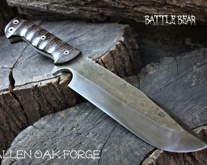 "Handmade FOF "" Battle Bear "" full tang camp and survival knife"