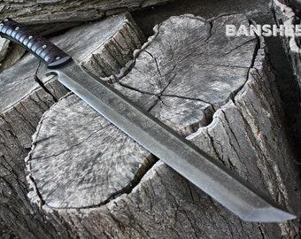 "Handmade FOF ""Banshee""  full tang, two handed tactical wakizashi style sword"