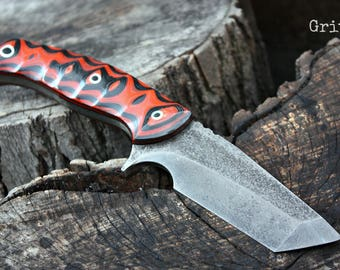 """Handcrafted FOF """"Grit"""", full tang tanto survival, hunting or tactical knife"""