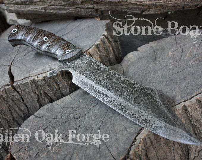 """Handcrafted Fallen Oak Forge blade FOF """"Stone Boar"""" full tang modern bowie knife"""