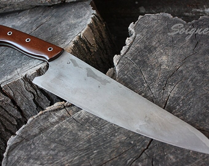 """Handcrafted FOF """"Soigne"""" full tang high carbon alloy chef's knife"""
