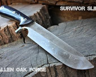 "Handcrafted FOF ""Survivor Slim"" Custom full tang bushcraft and hunting knife"