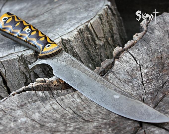 "Handcrafted Fallen Oak Forge ""Signet"", survival, hunting or tactical knife"